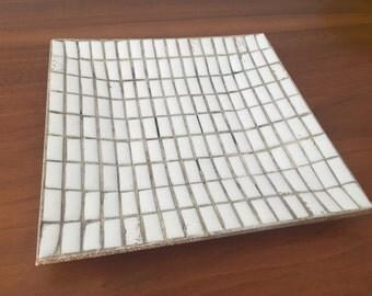 Mid Century Vintage White Mosaic Tile Dish