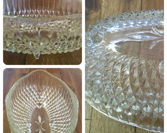 EAPG Diamond Point Oblong Bowl - Footed and Lovely