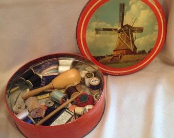 Vintage Sewing Tin Windmill Holland Dutch Decor Kit