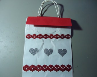 Gift bag one of a kind. Removable topper and gift tag. Valentines. Red, pink, silver. 2.00 discount if purchasing set of 5