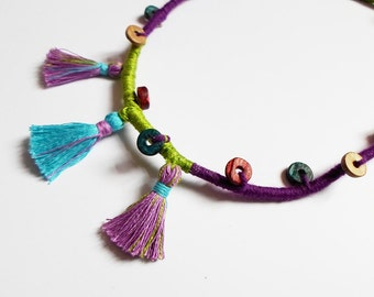 Wrap Thread Necklace, African Rope Necklace Jewelry, Tribal Ethnic Necklace, Tassel Boho Hippie Necklace jewelry, Yoga OOAK Necklace gift