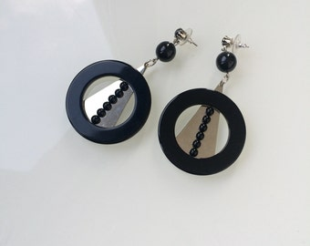 Black and silver large round geometric earrings, 80s look