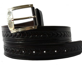 Hand tooled genuine leather belt for men in Black