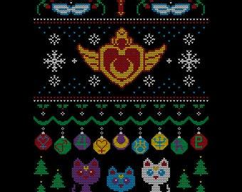 "WOMENS ""Senshi Sweater"" Anime Manga Sailor Moon Ugly Christmas Sweater T-Shirt *FREE SHIPPING*"