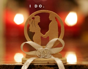 "Wedding Favor/Recuerdo de Boda ""I Do"" Party Keepsake With Printed Ribbon Groom and Bride and Date, Love, Decoration"