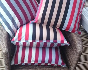 4 x Summery indoor or outdoor cotton cushions red grey blue stripey