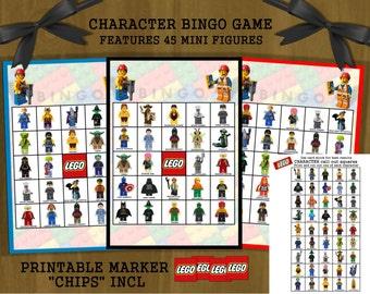 Lego Birthday Bingo - printable character bingo game with Lego minifigures