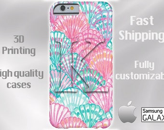 Seashells Monogram Cell Phone Case, iPhone 6 case, Note 4 cell case, iPhone 6 plus cell case, iPhone 6 plus case, Galaxy Samsung S6 #417