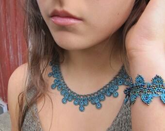 Crochet Necklace & Bracelet Set Turquoise