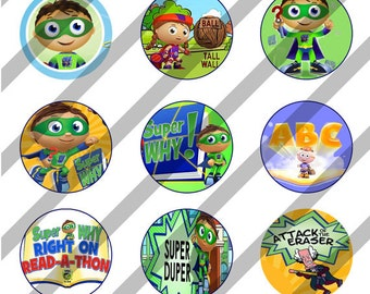 Super Why digital collage sheet 4x6 for bottlecaps - 1 inch - INSTANT DOWNLOAD