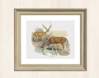 Vintage Deer Cross Stitch Pattern Canadian Pattern Instant Download Woodland Creature Woodland Stitch Forest Decor Canada Nature Gift