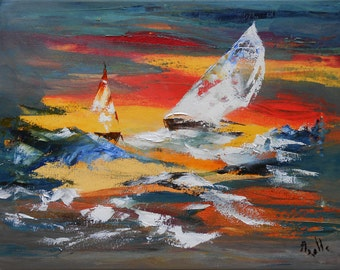 "Painting ""Regatta at sunset"""