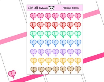 Multicolor Balloons Planner Stickers