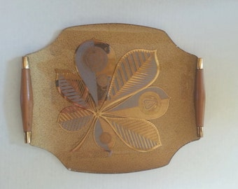 Mid Century Gold Serving Tray- Georges Briard