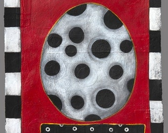 Abstract Art, Original Art, Geometric Design, Black and Red, Ovals, Dots, Grid, Acrylic Painting, Mixed Media Art