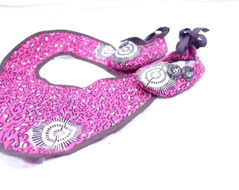 Africa Inspired Baby Girls Ankle Strap Booties With A Matching Bib