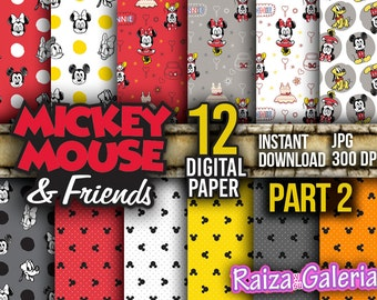 AWESOME Disney Mickey And Friends Digital Paper. PART 2 Instant Download - Scrapbooking - Mickey Minnie Printable Paper