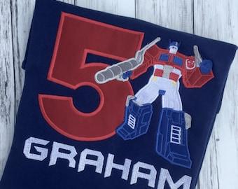 Optimus Prime Birthday Shirt, Transformers Inspired Birthday Embroidered Shirt, Numbers 1- 9,