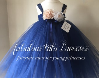 Chic French Navy tulle tutu flower girl dress with handmade tulle flowers and bows.
