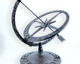 "Armillary arrow sphere 13"" cast iron sundial garden decor with Roman Numerals"