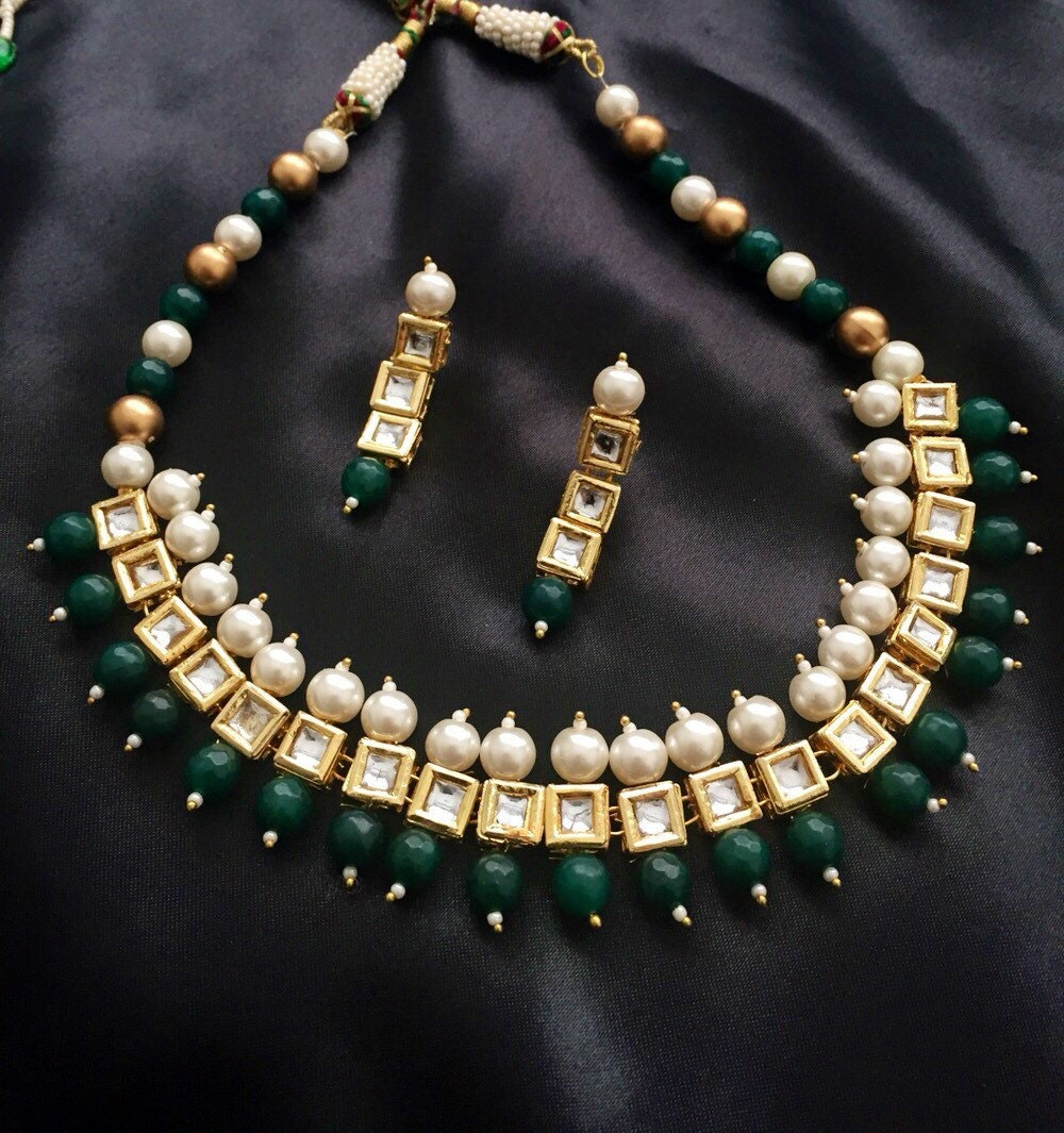 Kundan Jewelry Set: Kundan Necklace Set Kundan Full Set Indian Jewelry By