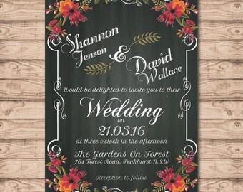 Floral Chalkboard Wedding Invitation - Print at Home File or Printed Invitations - Floral Chalkboard Personalised Rustic Wedding Invite