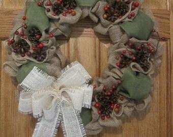 Country Wreath, Burlap Wreath, Holiday Wreath, Christmas Wreath, Pine Cone Wreath