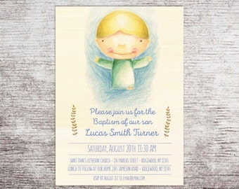 Communion invitation, Christening Invitation, Printable Baptism Invitation, Personalized Baptism Gift, Naming Day, Boy Baptism