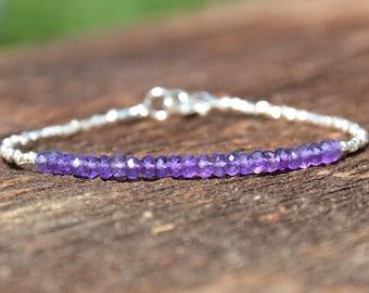 Amethyst Birthstone Bracelet, Amethyst Gemstone Bracelet, February Birthstone, Silver Bracelet, Sterling Silver, Gift For Her, Purple Beads