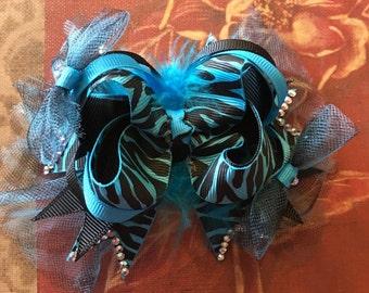 5' Blue Zebra Bow