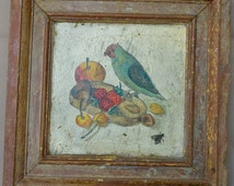 French Antique Hand Painted Panelling Panel - 18th Century Still Life Picture - Parakeet Bird Fruit Painting - French Country Cottage