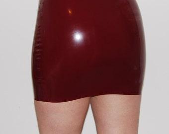 Plum Latex Rubber Mini Skirt