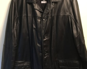 Mens Black Leather Jacket XXL