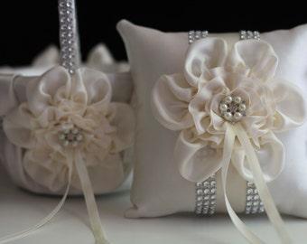 Ivory Flower Girl Basket \ Ivory Ring Bearer Pillow \ Ivory Ring Pillow \ Ivory Petals Basket \ Ivory Wedding Basket \ Ivory Wedding pillow