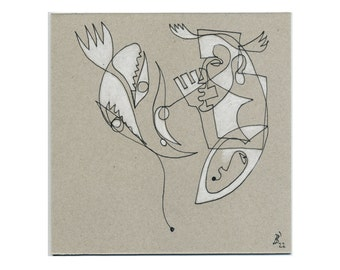 Drawing in 1 line (15 x 15 cm / 5, 9 x 5, 9 inch) - contour drawings, line pictures