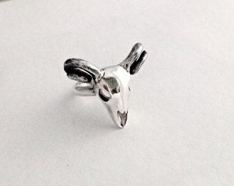 Sterling silver ram skull ring