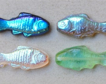 Fish Bead - Czech Glass Fish Beads - 24mm x 11mm - Various Colors Available - Qty 8-10