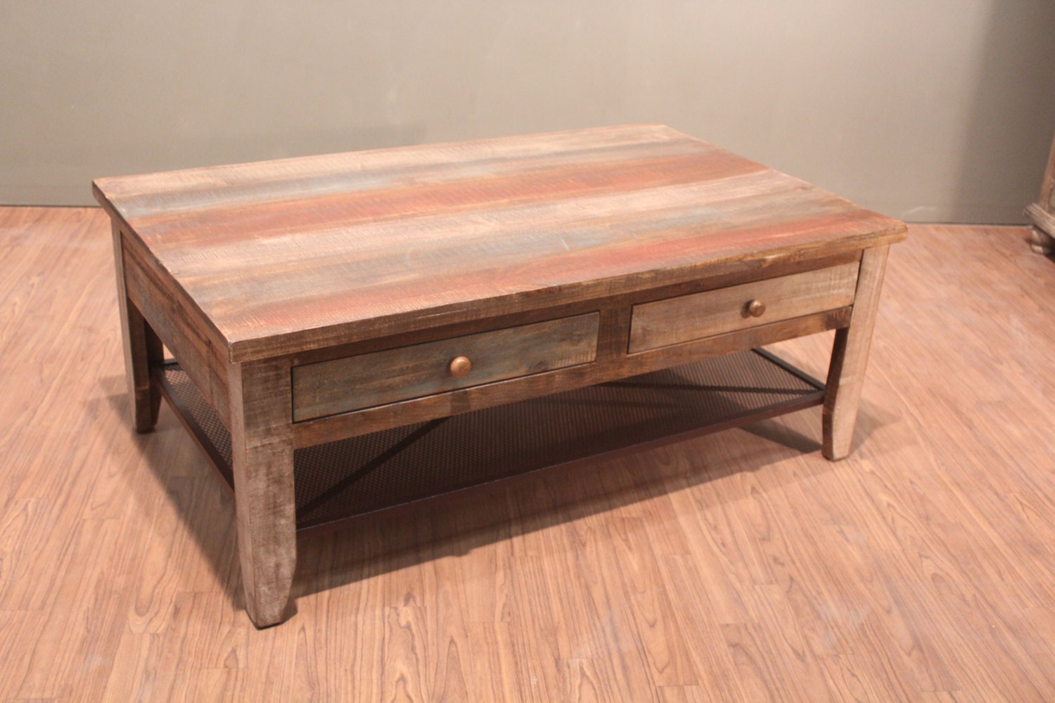 Antique Rustic Style Solid Wood Coffee Table With Drawers