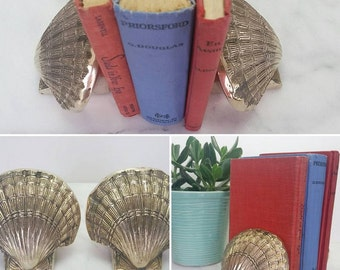Vintage Brass, Shell Bookends, Bookends