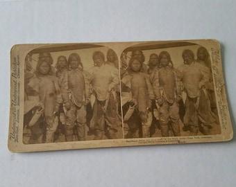 Rare Antique 1902 StereoView Esquimaux Belles in Garb Greenland Underwood