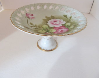 LEFTON China Reticulated Pedestal Bowl - Green Heritage
