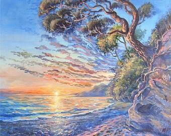 "Original Acrylic Painting Canvas Seascape Sunset Fine Art Wall Art 18 x 22 "" FREE SHIPPING BeikmaneArtGallery Pine Blue Purple Gold Beach"