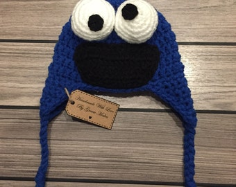 Cookie Monster Hat, Character Hat, Sesamee Street Hat, Crocheted Hat