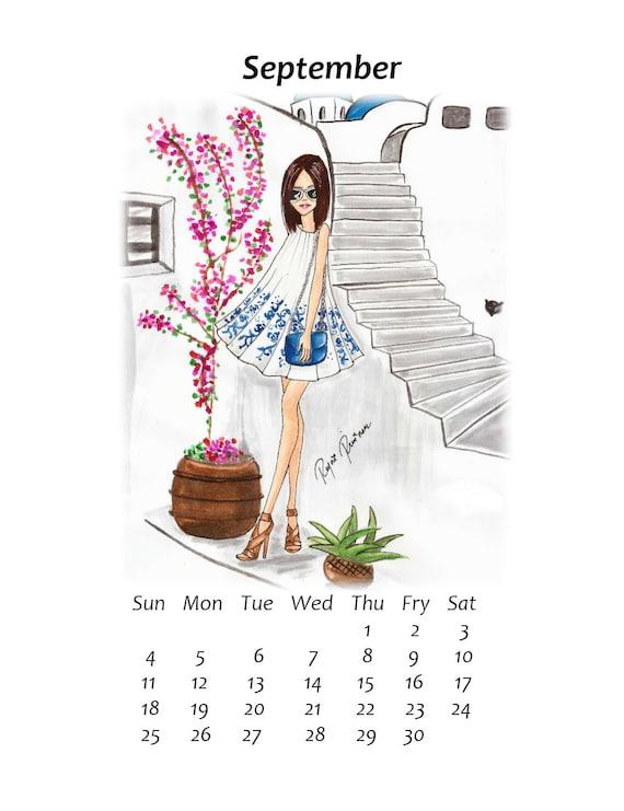 Fashion Illustration Calendar : Printable calendar fashion illustration