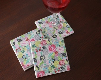 Floral Print Coasters, Floral Coasters, Coaster Set, Spring Decor, Summer Decor, Set of Four Coasters, Hostess Gift, Housewarming Gift