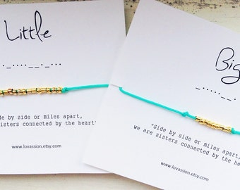 BIG/LITTLE - Morse Code Bracelet Set