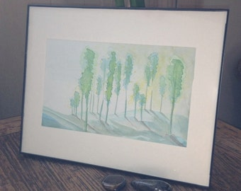 Trees and Hills, original artwork, watercolor, landscape