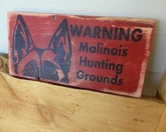 Beware of Malinois Dog Warning Wood Sign