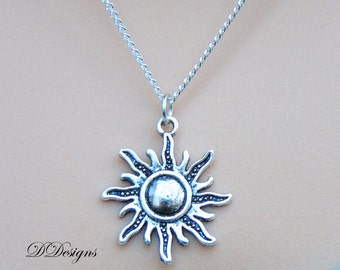 Silver Sun Necklace, Silver charm Necklace, Sun Charm Necklace, Sun Pendent, Silver Necklace, Gifts for her, Christmas Gift