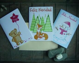 Set of 6 Postcards Digital Navidad.A6.Ilustracion.